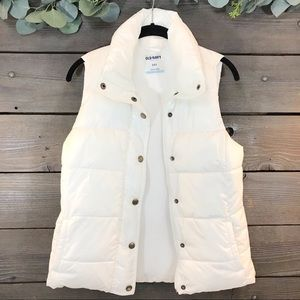 Old Navy White Puffer Vest Size S